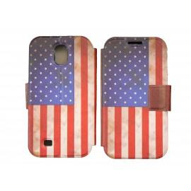 Pochette pour Samsung I9500 Galaxy S4 simili-cuir USA/Etats-Unis vintage + film protection écran