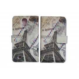 Pochette pour Samsung I9500 Galaxy S4 simili-cuir carte postale tour Eiffel + film protection écran