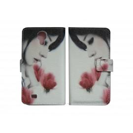 Pochette pour Samsung I9500 Galaxy S4 simili-cuir dame roses+ film protection écran