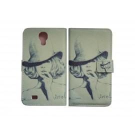 Pochette pour Samsung I9500 Galaxy S4 simili-cuir dame chapeau+ film protection écran