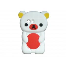 Coque silicone pour Samsung Galaxy Y/S5360 ourson blanc ventre rouge + film protection écran offert