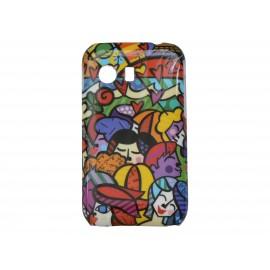 Coque pour Samsung Galaxy Y/S5360 personnages multicolores + film protection écran offert