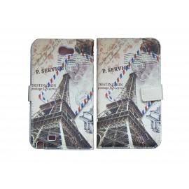 Pochette pour Samsung Galaxy Note 2 / N7100 simili-cuir tour Eiffel + film protectin écran