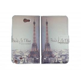 Pochette pour Samsung Galaxy Note 2 / N7100 simili-cuir tour Eiffel Paris+ film protectin écran