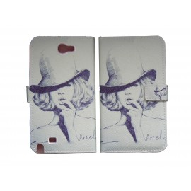 Pochette pour Samsung Galaxy Note 2 / N7100 simili-cuir Dame chapeau+ film protectin écran