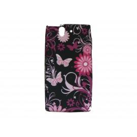 Coque silicone pour Sony Xperia Z papillons roses + film protection écran