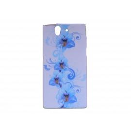 Coque silicone pour Sony Xperia Z fleurs bleues + film protection écran