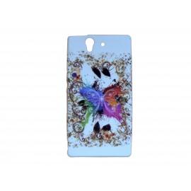 Coque silicone pour Sony Xperia Z papillon multicolore+ film protection écran