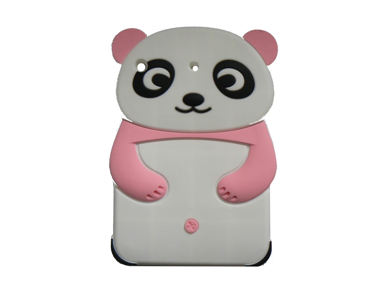 Coque silicone pour Ipad Mini panda oreilles roses claires film protection écran offert