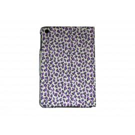 Pochette Ipad mini rose léopard violet + film protection écran