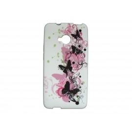 Coque silicone pour HTC One papillons roses et noirs + film protection écran