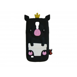 Coque silicone pour Samsung Galaxy S4 Mini / I9190 cochon noir + film protection écran offert
