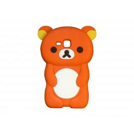 Coque silicone pour Samsung Galaxy Trend/S7560 ourson orange + film protection écran offert