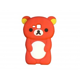 Coque silicone pour Samsung Galaxy Trend/S7560 ourson rouge + film protection écran offert
