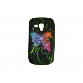 Coque silicone pour Samsung Galaxy Trend/S7560 papillon multicolore + film protection écran offert