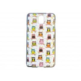 Coque pour Samsung Galaxy Note 3/N9000 hiboux multicolores  + film protection écran offert