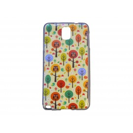Coque pour Samsung Galaxy Note 3/N9000 chouettes multicolores  + film protection écran offert