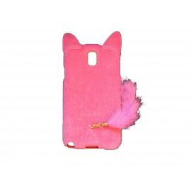 Coque pour Samsung Galaxy Note 3/N9000 oreilles de chat rose fuschia+ film protection écran offert