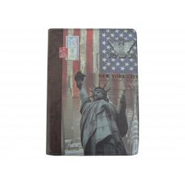 Pochette Ipad Air drapeau USA/Etats-Unis statue liberté + film protection écran