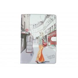 Pochette Ipad Air dame jupe orange + film protection écran