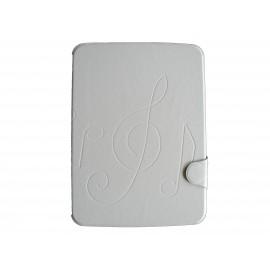 Pochette pour Samsung Tab 3 10.1 P5200 simili-cuir blanche + film protection écran