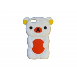 Coque silicone pour Iphone 5C ourson blanc + film protection écran