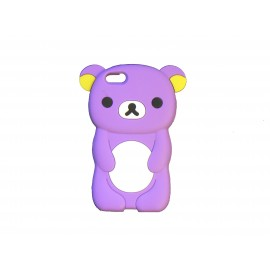 Coque silicone pour Iphone 5C ourson violet + film protection écran