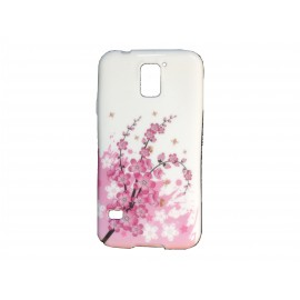 Coque TPU Samsung Galaxy S5 G900 blanche fleurs roses  + film protection écran offert
