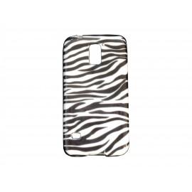 Coque TPU Samsung Galaxy S5 G900 zèbre noir blanc  + film protection écran offert