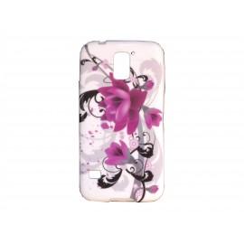 Coque TPU Samsung Galaxy S5 G900 blanche fleurs roses et grises  + film protection écran offert