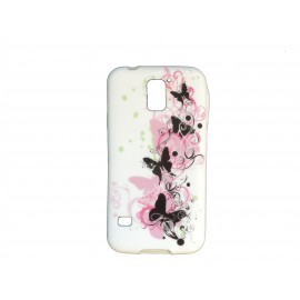Coque TPU Samsung Galaxy S5 G900 blanche papillons noirs et roses  + film protection écran offert