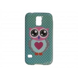 Coque TPU Samsung Galaxy S5 G900 hibou cœur rose + film protection écran offert