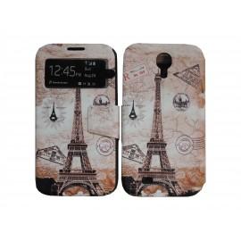 Pochette pour Samsung I9500 Galaxy S4 simili-cuir tour Eiffel carte postale + film protection écran