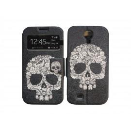 Pochette pour Samsung I9500 Galaxy S4 simili-cuir noire tête de mort + film protection écran