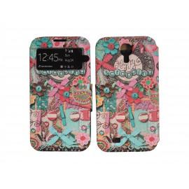 Pochette pour Samsung I9500 Galaxy S4 simili-cuir nœuds multicolores + film protection écran
