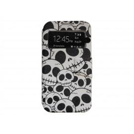 Pochette pour Samsung I9500 Galaxy S4 simili-cuir tête de mort + film protection écran