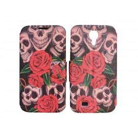 Pochette pour Samsung I9500 Galaxy S4 simili-cuir tête de mort roses + film protection écran