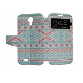 Pochette pour Samsung I9500 Galaxy S4 simili-cuir Maya bleu + film protection écran