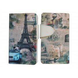 Pochette pour Samsung I9500 Galaxy S4 simili-cuir Tour Eiffel version 3 + film protection écran