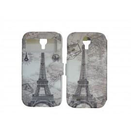 Pochette pour Samsung I9500 Galaxy S4 simili-cuir Tour Eiffel version 4 + film protection écran
