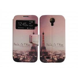 Pochette pour Samsung I9500 Galaxy S4 simili-cuir Paris tour Eiffel version 2 + film protection écran