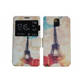 Pochette pour Samsung Galaxy Note 3 N9000 simili-cuir Tour Eiffel orange + film protection écran