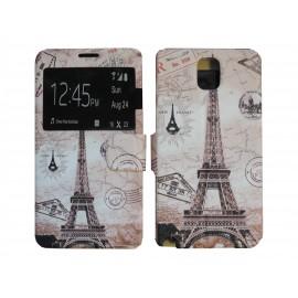 Pochette pour Samsung Galaxy Note 3 N9000 simili-cuir Tour Eiffel + film protection écran