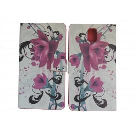 Pochette blanche  pour Samsung Galaxy Note 3 N9000 simili-cuir fleurs roses+ film protection écran