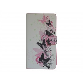 Pochette blanche  pour Samsung Galaxy Note 3 N9000 simili-cuir papillons roses noirs+ film protection écran