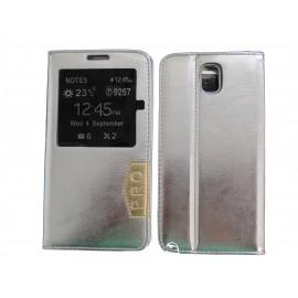 Pochette fenêtre pour Samsung Galaxy Note 3 N9000 simili-cuir argent + film protection écran