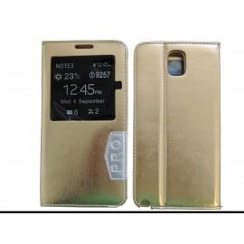 Pochette fenêtre pour Samsung Galaxy Note 3 N9000 simili-cuir or + film protection écran