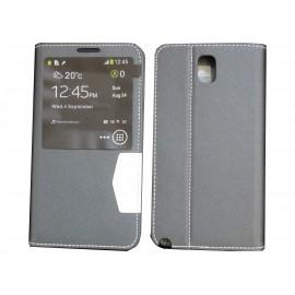 Pochette fenêtre pour Samsung Galaxy Note 3 N9000 simili-cuir noir + film protection écran