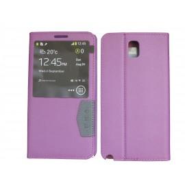 Pochette fenêtre pour Samsung Galaxy Note 3 N9000 simili-cuir violette + film protection écran