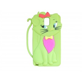 Coque silicone pour Samsung Galaxy Note 3/N9000 chat vert + film protection écran offert